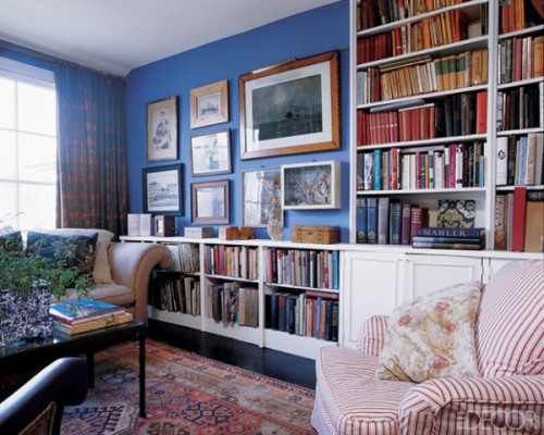 Blue library from Elle Decor