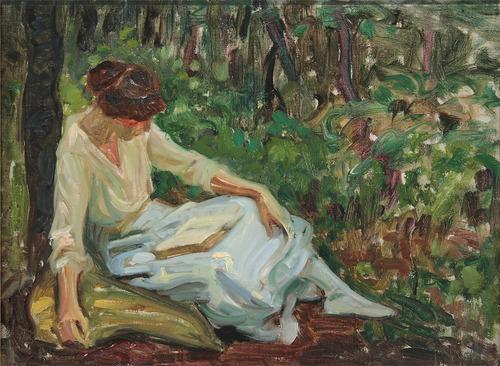 Woman Recling by Sigismund Ivanowski