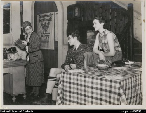 Muriel Aked, Jack Hawkins, Jessica Tandy in the J.C. Williamson London production of Autumn Crocus (credit: National Library of Australia)