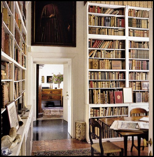 enviable library via content in a cottage blogspot