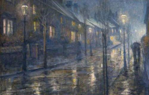 A Street at Night in Wet Weather by Edward Steel Harper II