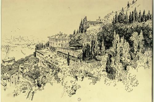 Fiesole.  Villa Medici by Joseph Pennell