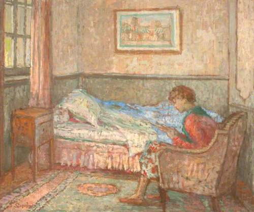 The Bedroom at Auppegard, France, Girl Reading by Ethel Sands