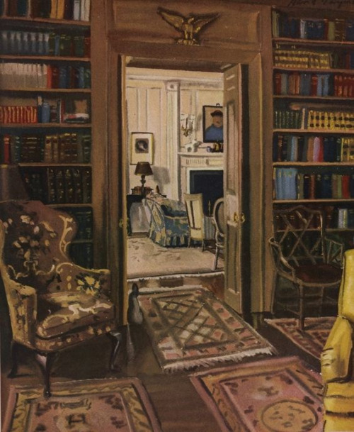 The Library at Point Farm, 1942 - David Mode Payne